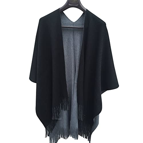 2ddaf96777e ilishop Women s Winter Knitted Cashmere Poncho Capes Shawl Cardigans  Sweater Coat