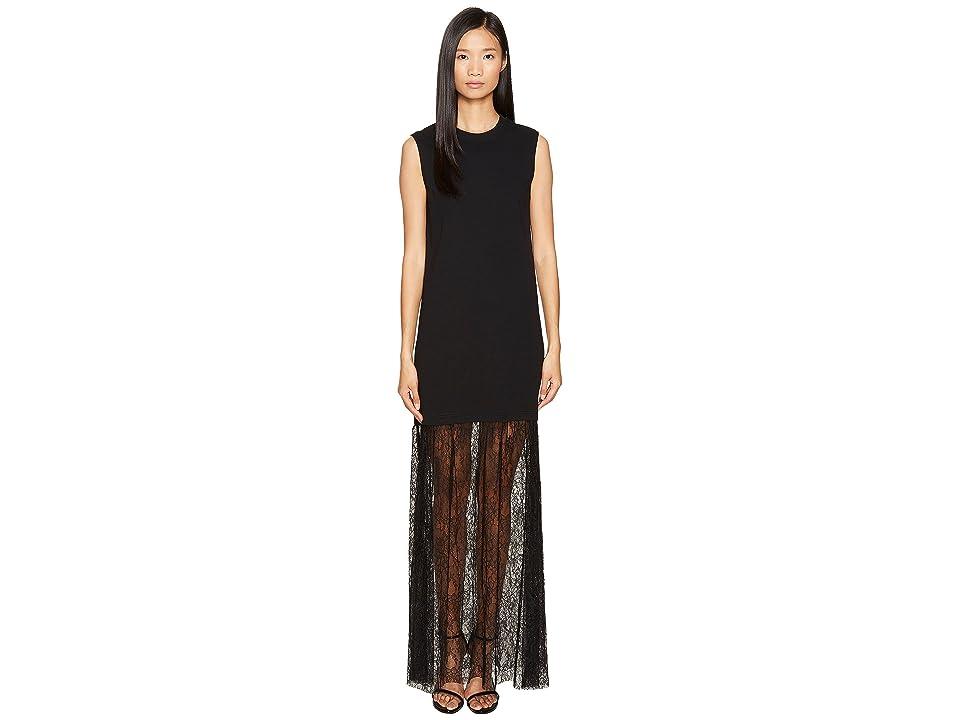 McQ Lace Mix Maxi Dress (Darkest Black) Women
