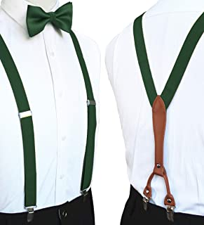 Solid Color Suspender and Silk Bow Tie Sets for Men