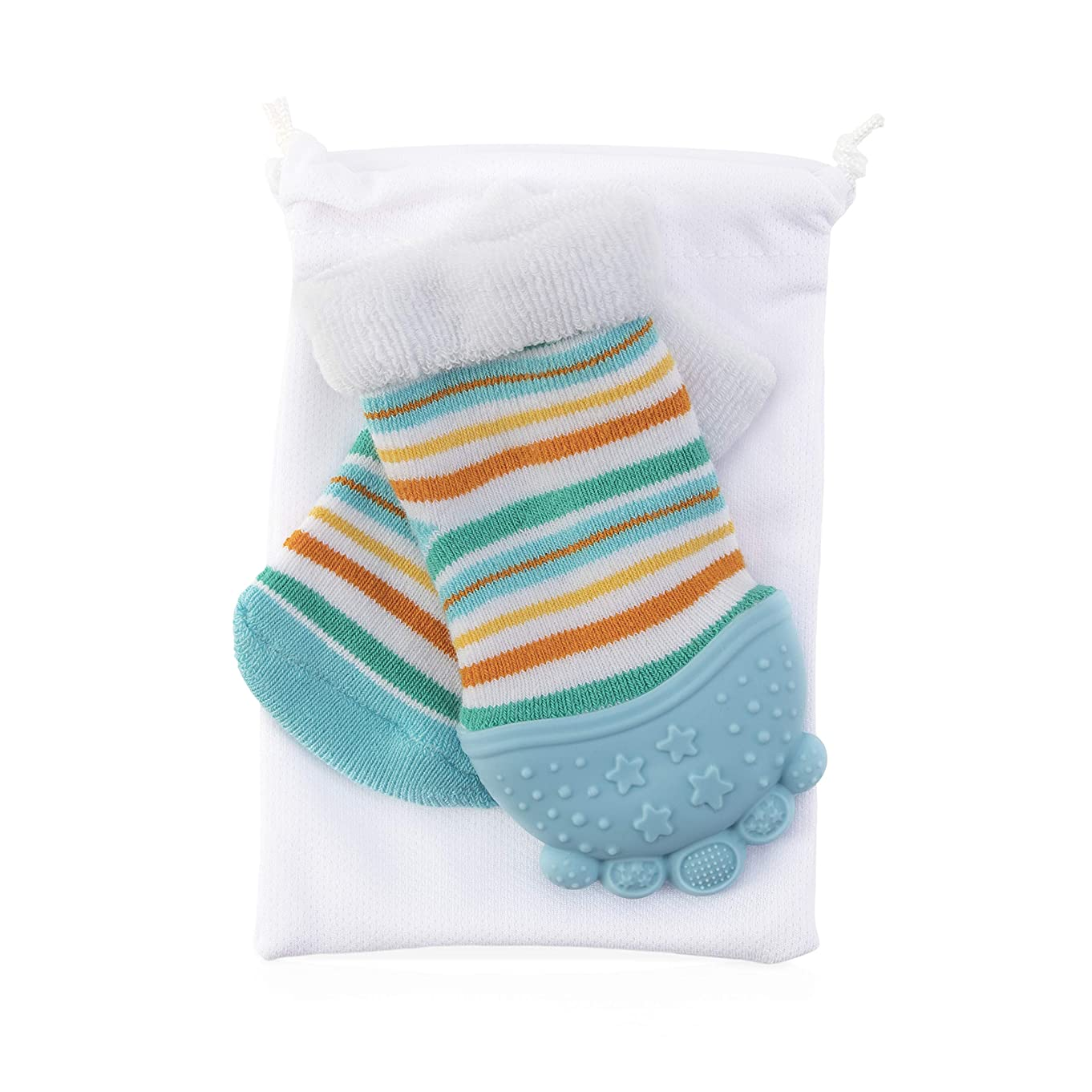 Nuby Soothing Teether Sock, Baby Blue Stripes