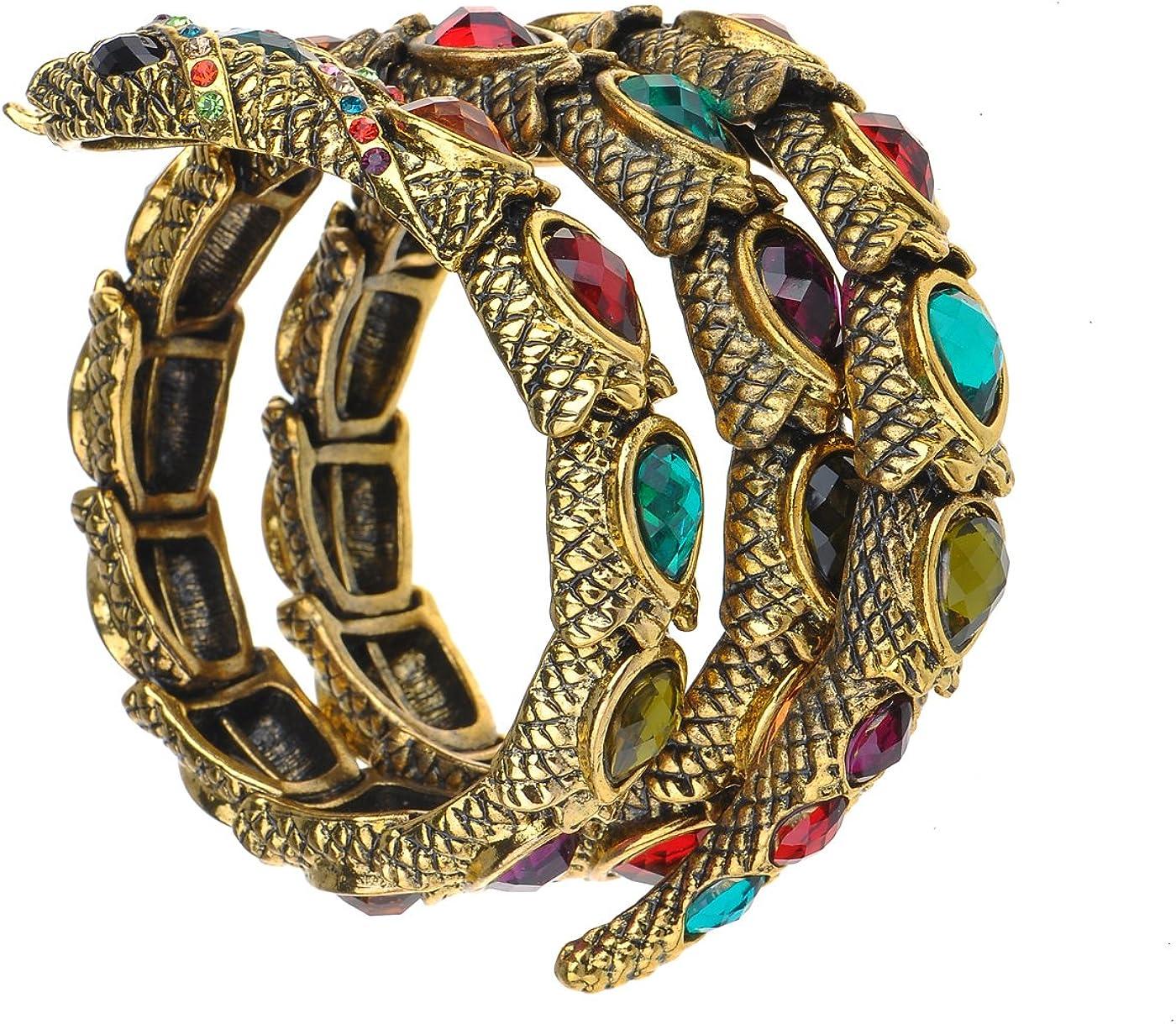 Alilang Egyptian Snake Rhinestones Stretch Cuff Wrap Bangle Bracelet