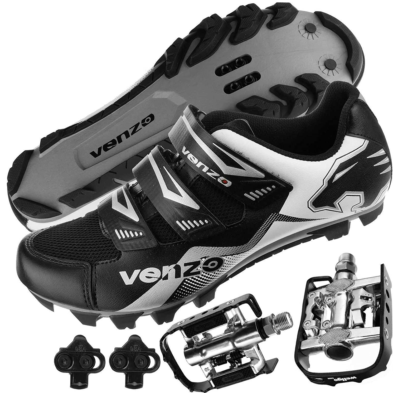 Venzo Mountain Bike Bicycle Cycling Shimano SPD Shoes + Multi-Use Pedals