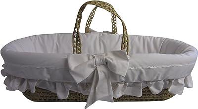 Baby Doll Bedding Satin Trim Moses Basket, White