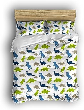 Vandarllin Dinosaur Prints Boys/Kids/Teen Bedding Set Duvet Cover Set Bedspread with Two Pillowcases,  Multi-Colored, 4 Piece 100% Cotton
