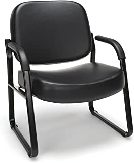 OFM Core Collection Big and Tall Guest and Reception Chair with Arms, Anti-Microbial/Anti-Bacterial Vinyl, in Black (407-VAM-606)