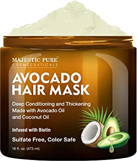 Sponsored Ad - MAJESTIC PURE Avocado and Coconut Hair Mask for Dry Damaged Hair - Infused with Biotin - Deep Conditioning,...