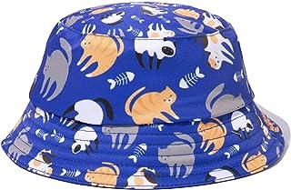 PattyCandy Girls Purple Blue Cat Fish & Cats Inside Out Bucket Hat - M