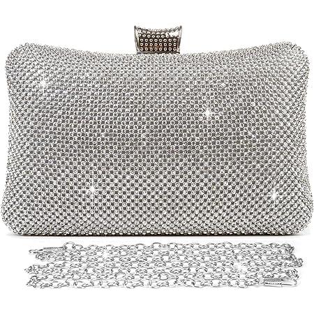 BAIGIO Damen Abendtasche Clutch Tasche Elegant Handtasche mit Strass für Party Hochzeit (Silber)