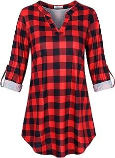 Women's Casual 3 4 Sleeve Notch V Neck Long Sleeve Blouse Shirt Tops