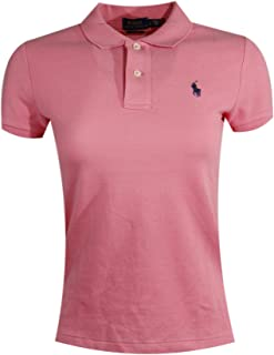 Ralph Lauren Polo Womens Classic Fit Mesh Polo Shirt (Medium, Coral Pink (Navy Pony))