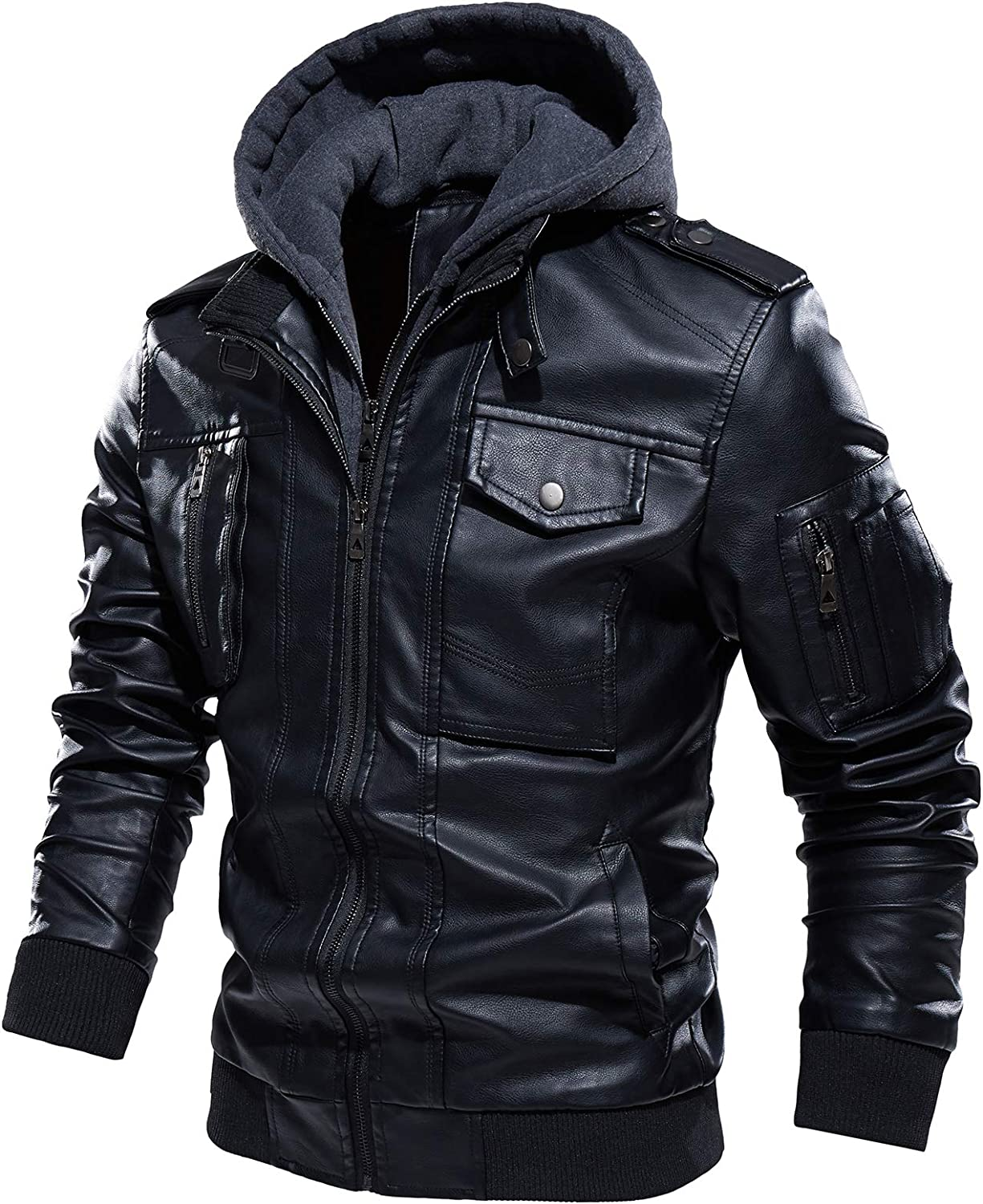 Mens Faux PU Leather Jacket Motorcycle Biker Zip Up Stand Collar Warm Jacket with Removable Hood (Free mask Included)