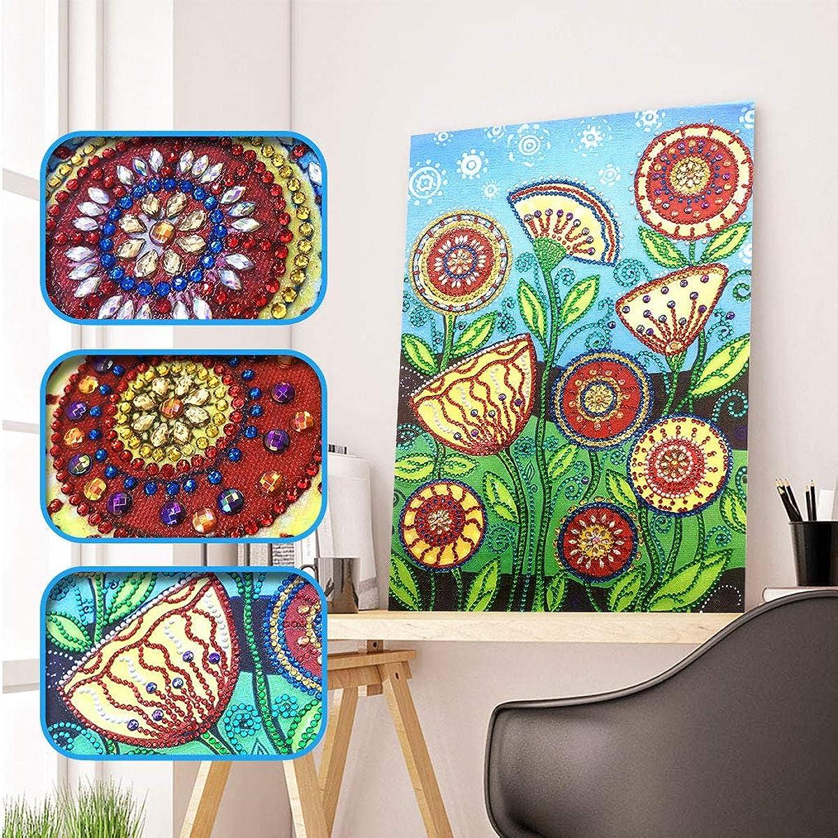 Diamond Painting Adult or Child 5D DIY Diamond Embroidery, Special Shape Diamond Painting Lotus Flower Pattern Hibah