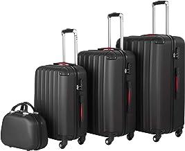 tectake 800763 Lot de 4 Valises de Voyage en ABS, Empilables, Poignée Télescopique, avec Valises à roulettes et Trousse de Toilette - diverses Couleurs au Choix - (Noir | no. 403412)