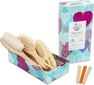 Baby Hair Brush and Comb Set for Newborn and Toddler - Infant Grooming Kit - Natural Soft Goat Bristles - Wooden Hairbrush...