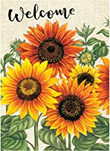 Wamika Welcome Sunflower Fall Autumn Maple Leaves Double Sided Burlap Garden Yard Flag 12