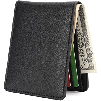 Mens Slim Front Pocket Wallet ID Window Card Case with RFID Blocking, Natural Grain