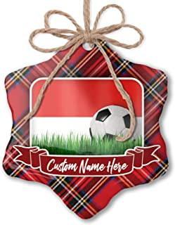 NEONBLOND Customizable Ornament Soccer Team Flag Salzburg (State) Region Austria add Your own Text!
