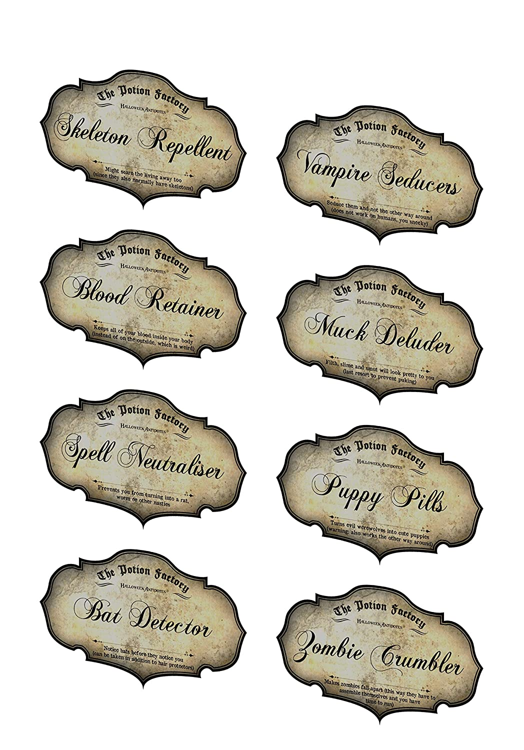 Ranking TOP4 Halloween potion blood Deluxe bat zombie laminated bottle 8 stic labels