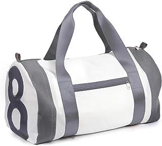 Reisetasche recyceltes Segeltuch Pirat Zahl Grau Gurte Grau von 360 Grad