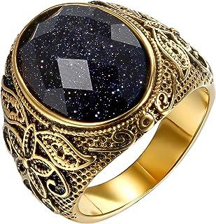 JewelryWe Anello da Uomo Donna Unisex in Acciaio Inossidabile Colore Oro Viola