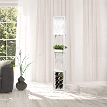 Simple Designs LF1015-WHT Etagere Organizer Storage Shelf and Wine Rack with Linen Shade Floor Lamp, White
