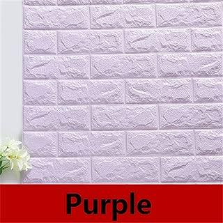 8PCS DIY Panel Self Adhesive 3D Wall Stickers Living Room Waterproof Wall Covering Brick Wallpaper Room Purple 8PCS