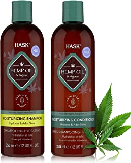 HASK Beauty HEMP Shampoo and Conditioner for all hair types, color safe, gluten free, sulfate free, paraben free - Shampoo...