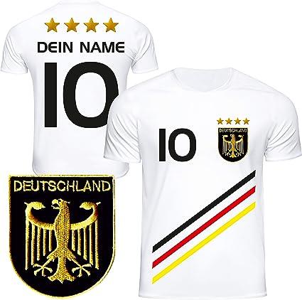 De Fanshop Deutschland Trikot Mit Gratis Wunschname Nummer D3 2021 2022 Em Wm Weiss Geschenk Fur Kinder Jungen Baby Fussball T Shirt Personalisiert Als Ostergeschenk Amazon De Sport Freizeit