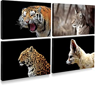 sweetplus 4 Animal Canvas Wall Art Prints Pictures - Tiger Leopard Lynx Desert Fox Canvas Wall Art Painting Pictures Prints - Artwork Framed Print Panel (4 Animal Artwork)
