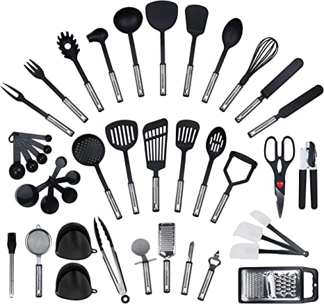 40 Piece Set From Kronenkraft Kitchen Utensils Set Made Of Stainless Steel And Nylon Cooking Tools Including Turners Tongs Spoon Measuring Cup Whisk Tin Opener Peeler Scraper Amazon De Home Kitchen