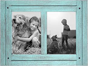 Americanflat 5x7 Turquoise Blue Collage Distressed Wood Frame - Made to Display 2 5x7 Photos - Ready to Hang - Ready to Stand - Built-in Easel
