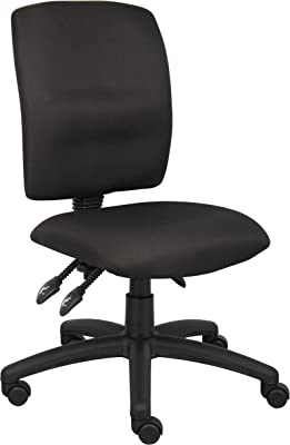 Boss Office Products Multi-Function Fabric Task Chair without Arms in Black
