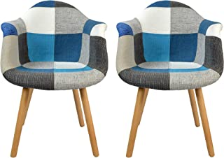 N A to MUEBLES HOME Juego de 2 sillas de comedor modernas de lino y tela de lino para cocina, mostrador, salón, recepción, sala de estar, sillas auxiliares