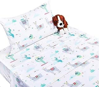 Scientific Sleep Cactus Llama Cotton Cozy Twin Bed Sheet Set, Flat Sheet & Fitted Sheet & Pillowcase Natural Bedding Set (16, Twin)