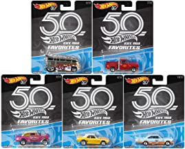 2018 Hot Wheels 50th Anniversary Favorites B Series Set of 5 1/64 Scale Diecast Cars, VW Drag Bus '55 Gasser Chevy Camaro