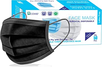 Mcovid® 3-Ply Meltblown Disposable Surgical Face Mask With Nosepin (Pack of 50 - Black) CE and ISO Certified