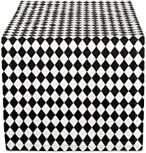DII Holiday Table Runner, Harlequin Basic, 14x108, Black and Cream