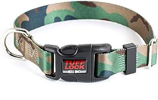 Tuff Lock Nylon Dog Collar, Rust-Free Quick Release Adjustable D Ring, Made in USA, Plastic Buckle (Camo Pattern) Medium M...