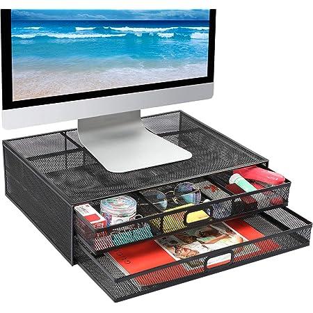 Monitorständer Mit Schublade Schreibtisch Organizer Aus Metallgitter Mit Ausziehbarer Schublade Baumarkt