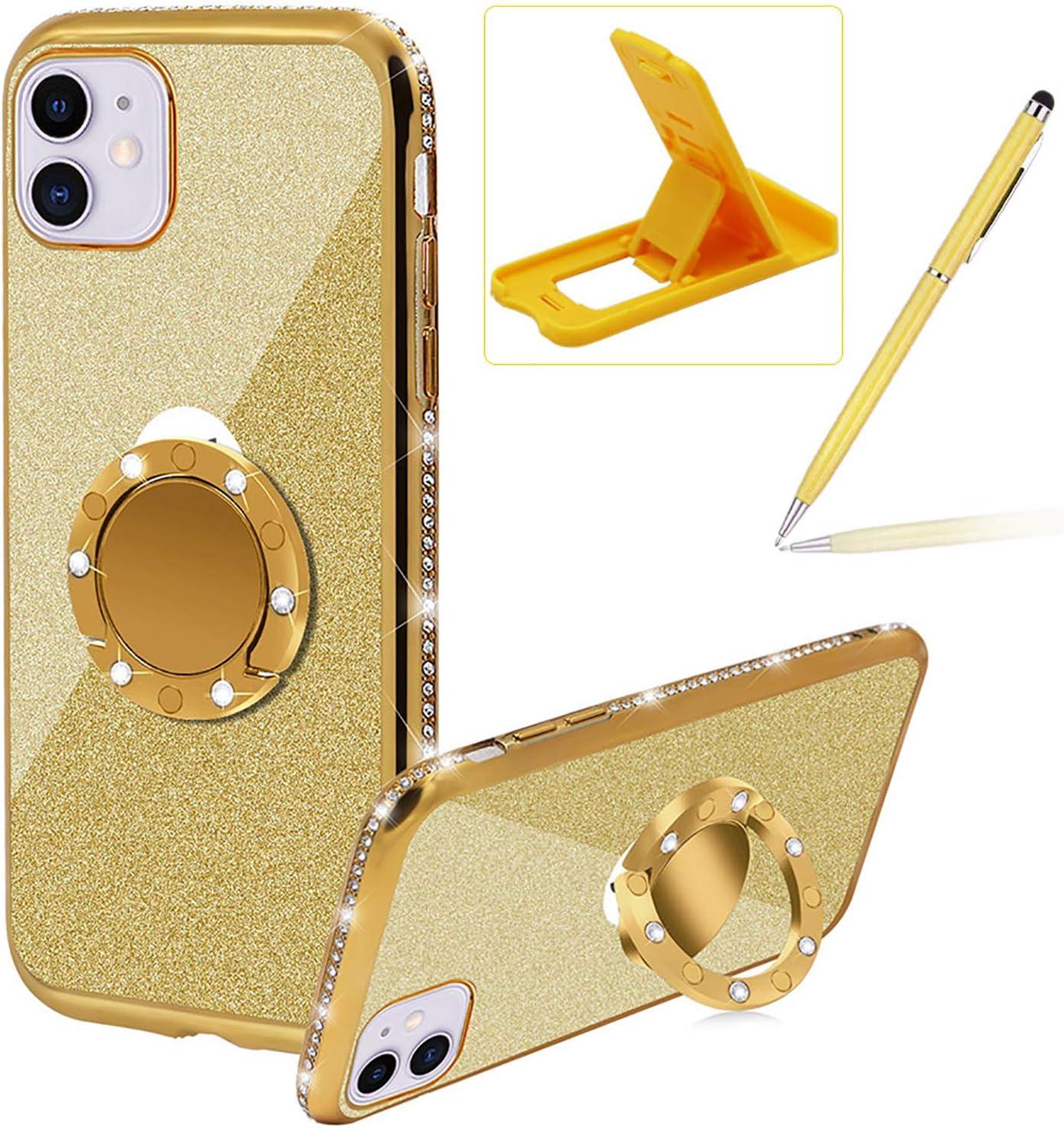 Gold Glitter Genuine Rubber Case for iPhone Herzzer 12 5.4