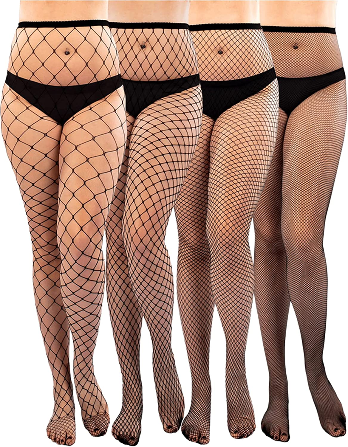 SHEIN Women's 4 Pairs Plus Size Fishnet Stockings Hollow Out Tights Pantyhose Leggings