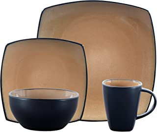 Gibson 61222.16RM Elite Soho Lounge Square 16-Piece Reactive Glaze Dinnerware Set Service..