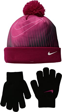Graphic Pom Beanie & Gloves Set (Little Kids)