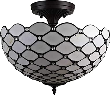 """Amora Lighting Tiffany Style Ceiling Fixture Lamp Jeweled Semi-Flush 16"""" Wide Stained Glass White Antique Vintage Light Decor"""