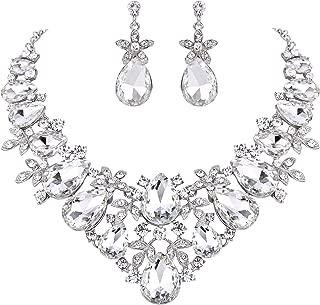 Clearine Women's Bohemian Boho Crystal Flower Teardrop Hollow Statement Necklace Dangle Earrings Set