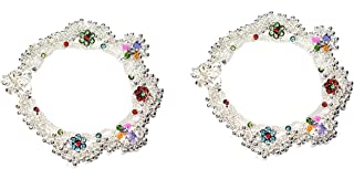Frolics India Multicolour Stone Studded Non-Precious Metal Alloy Heavy Hangings with Ghungroo Anklet for Women