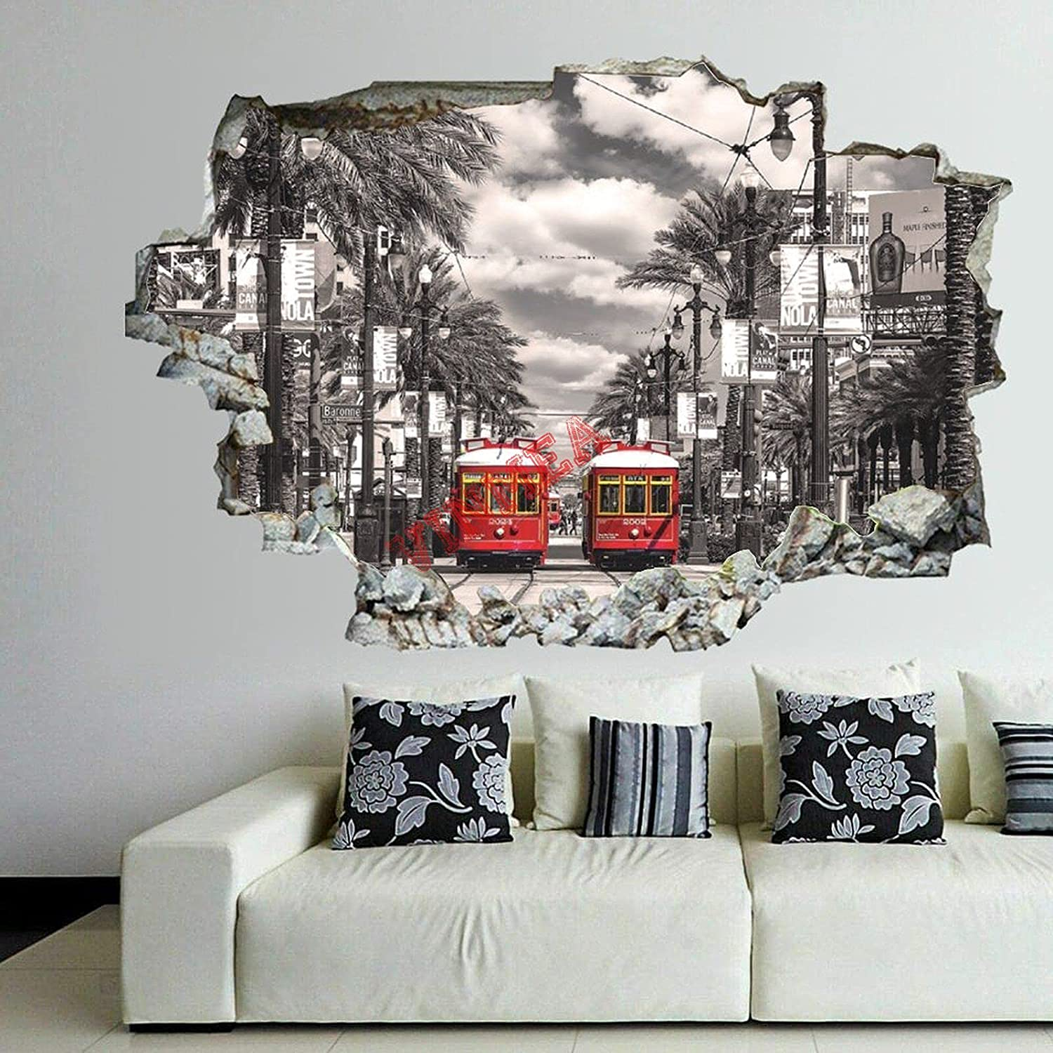 3D Break The Credence Wall Stickers Mu Decals New Al sold out. Orleans-Streetcars