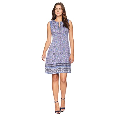 Maggy London Global Medallion Border Printed Scuba Fit and Flare (Grey/Blue) Women