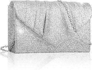 Larcenciel Damen Clutch, Glitzer Abendtasche Umhängetasche Handtasche mit Abnehmbarer Kette Elegante Envelope Tasche für A...
