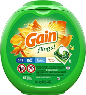 Sponsored Ad - Gain flings! Laundry Detergent Pacs plus Aroma Boost, Island Fresh Scent, HE Compatible, 81 Count (Packagin...